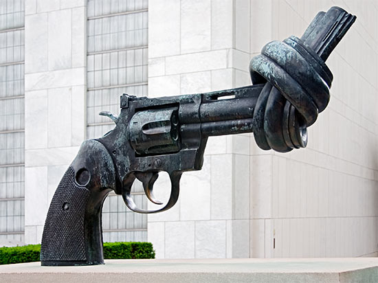 In front of the UN building in NYC. The UN's stance on gun control anyone?