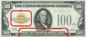 Gold Certificate_100 Dollars