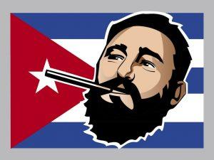 Fidel Castro and His Flag