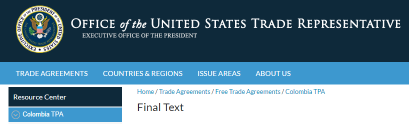 Click on Picture to Reach the Text of the Columbia-US Trade Agreement