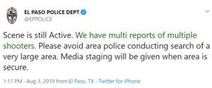 El Paso Tweet on Multiple Shooters